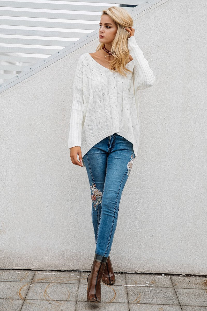 Autumn Cross Backless Knitted Sweater  LAVELIQ - Laveliqus