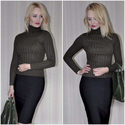 Turtleneck Knitting Women Casual Cotton Sweater LAVELIQ