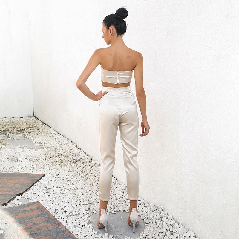 Crop Top and Pants Set Lady Clothing Outfits Two Piece Set