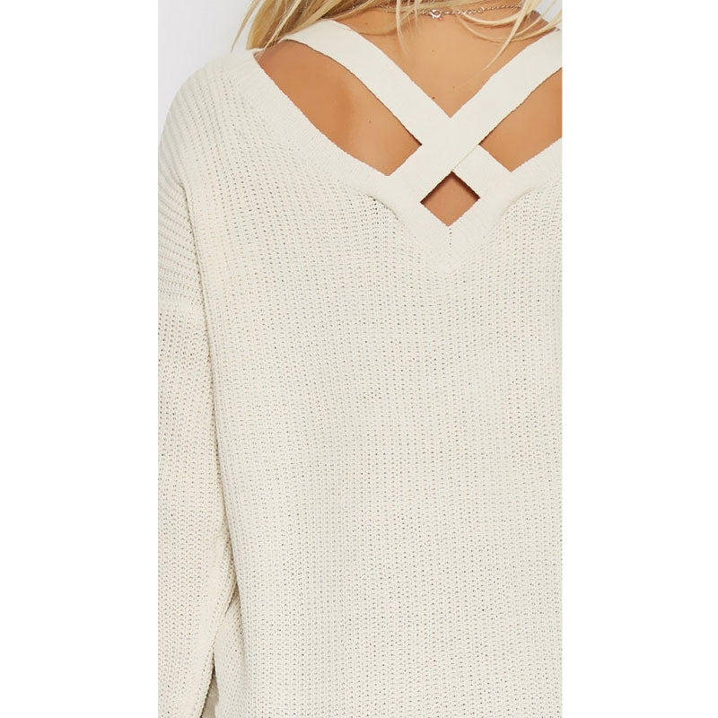 Sweaters Women Back V Criss Cross Pullovers Sweater Knitted Casual Sweater Elegant Female Tops Autumn Winter Laveliq - Laveliqus