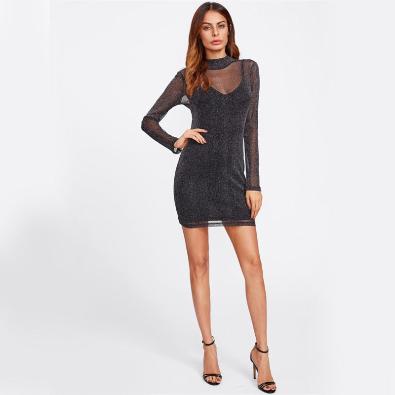 Black Overlay Women Sexy Party Club Summer Dress LAVELIQ - Laveliqus