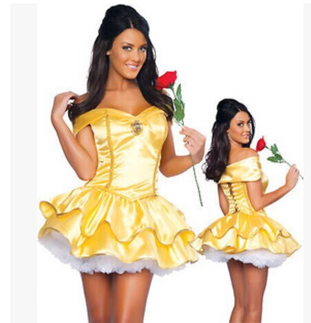 free shipping Sexy Fancy Cinderella Snow White Princess Fairy Costumes for Women Halloween Costume Beauty and the Beast Cosplay