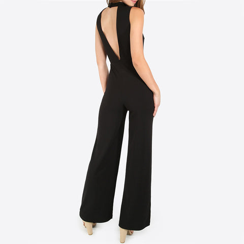 Black Double V Sleeveless Jumpsuit LAVELIQ