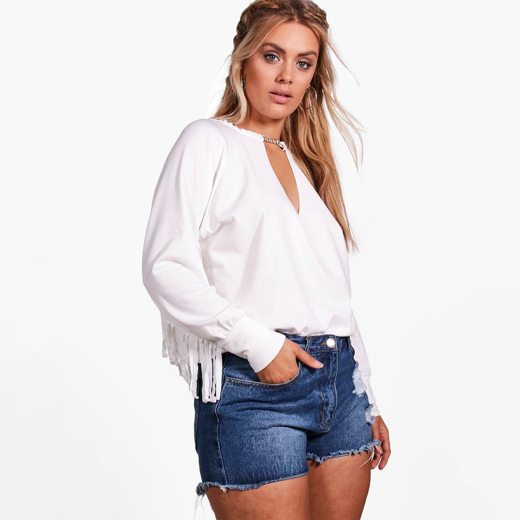 Plus Size V Neck Tassel Hollow Out Long Sleeve Top LAVELIQ - Laveliqus