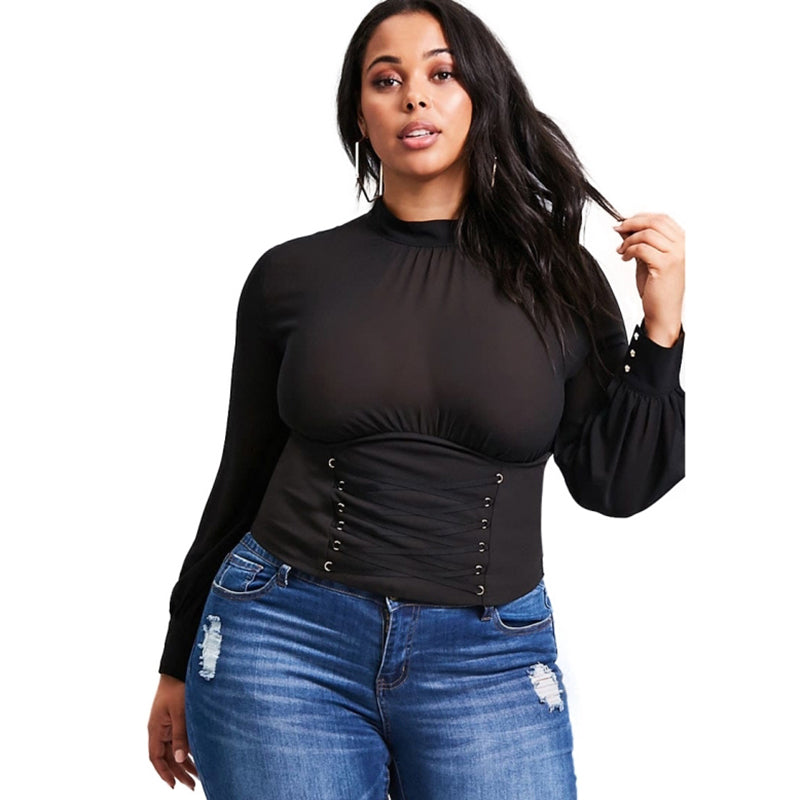 Plus size Lantern Sleeve Hollow Out Short Top LAVELIQ - Laveliqus