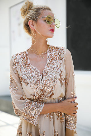 V Neck Long Sleeve Sequin Casual Midi Dress LAVELIQ