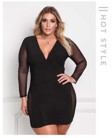 LAVELIQ deep v neck mesh long sleeve plus size mini dress