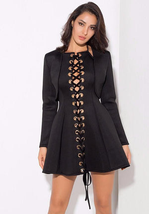 Sexy Two-Pieces Metal Ring Shirt Blonde Dress LAVELIQ - Laveliqus