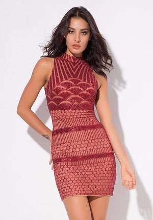 Red Geometric Figure High Collar Slits Slim Dress LAVELIQ - Laveliqus