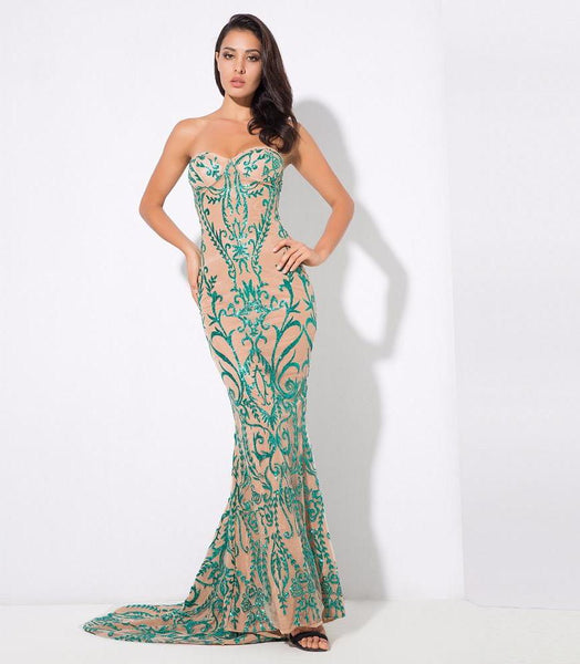 Sexy Symmetry Flower Vine Beads Painted Tail Fish Tail Maxi Dress  Green/Nude Laveliq