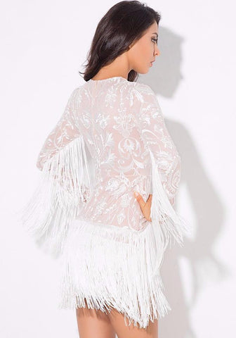 Sexy Flower Rattan Embroidery Tassel  Long Sleeves Slim Dress LAVELIQ