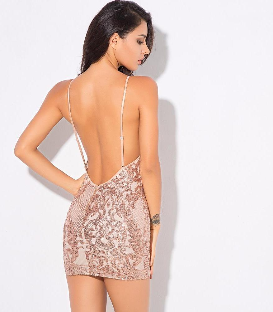 Sexy Gold Geometric Pattern Sequins Mesh Stitching Party Dress Laveliq - Laveliqus