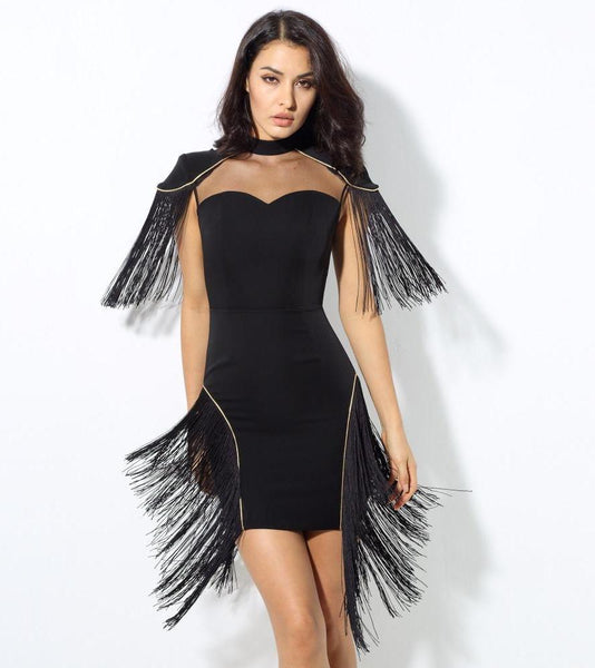Sexy Black Mesh Splicing Tassel Party Dress Laveliq