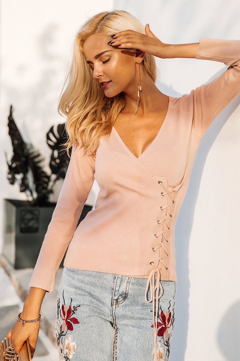 Causal Lace Up V Neck Knitted Sweater LAVELIQ - Laveliqus