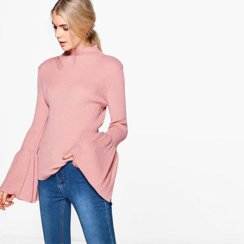 Bell Sleeve Mock Neck Sweet Sweater LAVELIQ