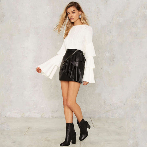 White LongRuffled  Sleeve Round Neck Sweater LAVELIQ
