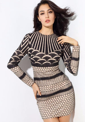 Sexy Geometric Bead Material Party Dress LAVELIQ - Laveliqus