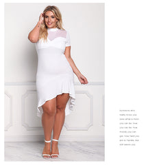 LAVELIQ white mesh asymetric plus size midi dress - Laveliqus