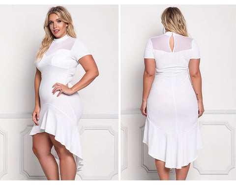 LAVELIQ white mesh asymetric plus size midi dress