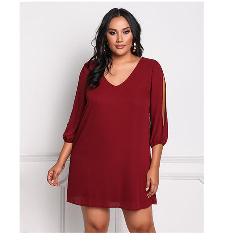 LAVELIQcold shoulder  deep v neck plus size mini dress