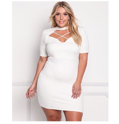 LAVELIQ hollow out short sleeve party plus size dress