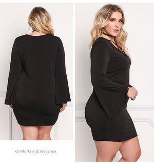 LAVELIQ Long bell sleeve lace up plus size mini dress - Laveliqus