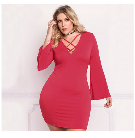 LAVELIQ Long bell sleeve lace up plus size mini dress