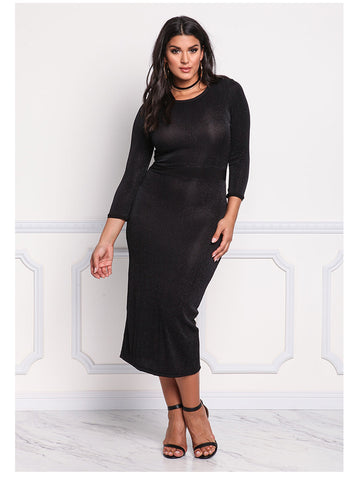 LAVELIQ long sleeve bodycon plus size midi dress