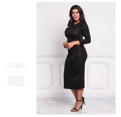 LAVELIQ long sleeve bodycon plus size midi dress - Laveliqus