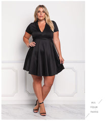 LAVELIQ short sleeve plus size mini skater dress - Laveliqus