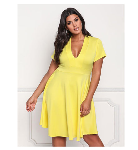 LAVELIQ short sleeve plus size mini skater dress