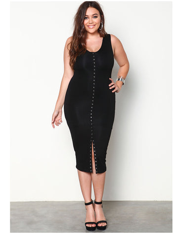 LAVELIQ plus size slit midi dress