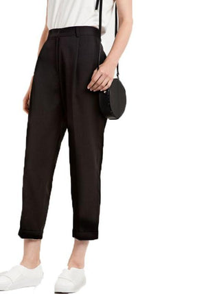 Black Casual Ankle Length Pants LAVELIQ - Laveliq