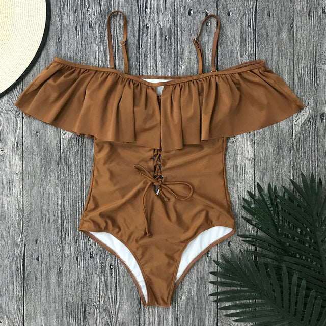 One Piece Lace Up Ruffle  Swimsuit LAVELIQ - Laveliqus