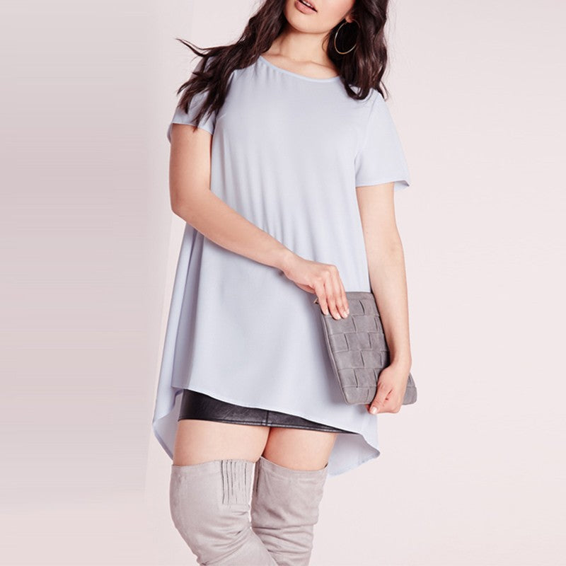 Plus Size Short Sleeve Casual Loose Solid Top LAVELIQ - Laveliqus