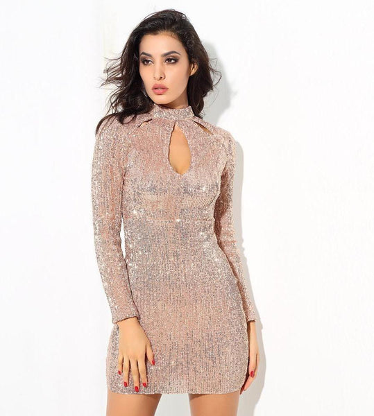 Champagne Cut Out High Collar Elastic Sequins Bodycon Dress  Laveliq