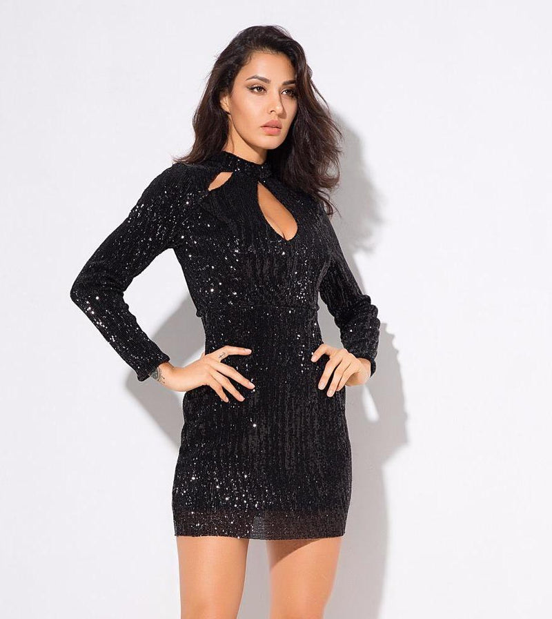 Black Cut Out High Collar Elastic Sequins Bodycon Dress  Laveliq - Laveliqus