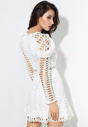 White Geometric Figure Lace Lotus Leaf Gold Button Dress LAVELIQ