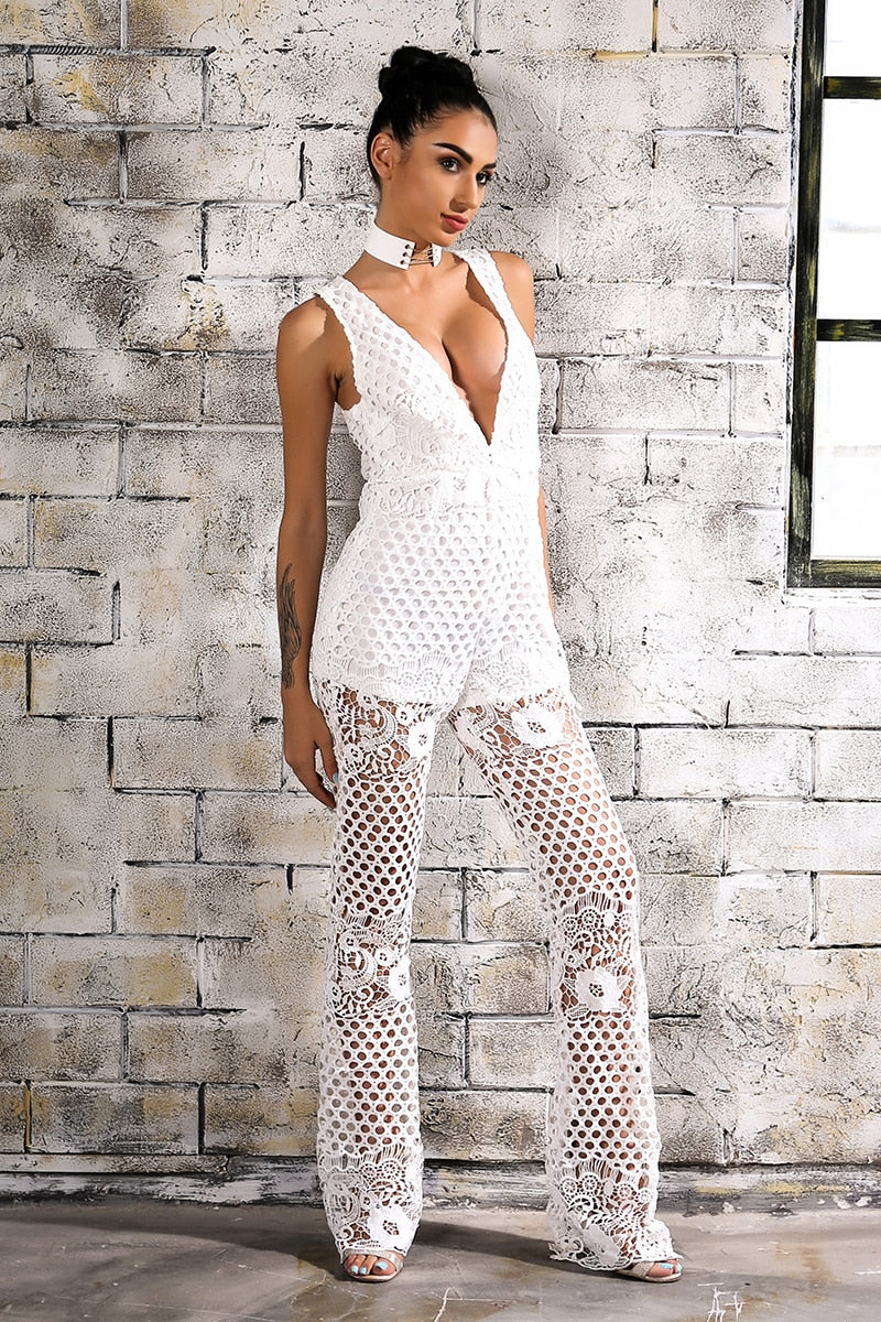 Sexy Lace Slim High Waist Deep V Neck Sleeveless Jumpsuits - Laveliqus