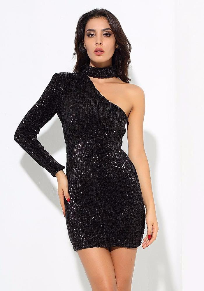 Sexy Black Cut Out Strapless Elastic Beads Material Bodycon Dress LAVELIQ