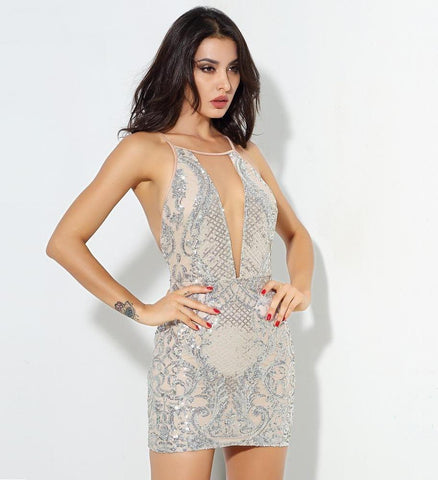 Sexy Silver Open Back Geometric Pattern Sequins Mesh Stitching Mini Dress LAVELIQ