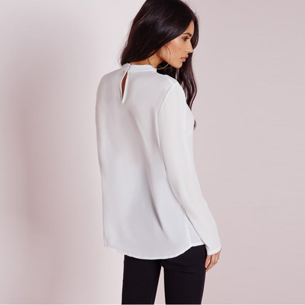 Deep V-Neck Long Sleeve Button Top LAVELIQ - Laveliqus