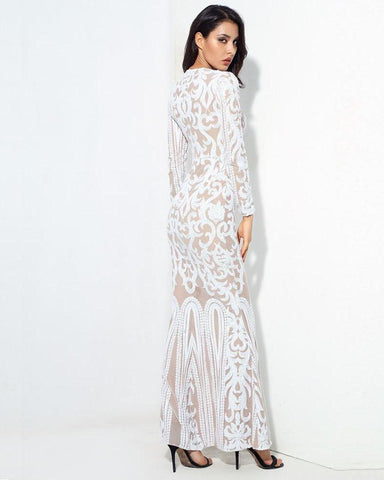 Sexy Self-Cultivation White Geometric Graphics Sequins Maxi Dress LAVELIQ