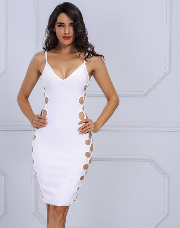 V Neck Sleeveless Party Bandage Dress LAVELIQ - Laveliqus