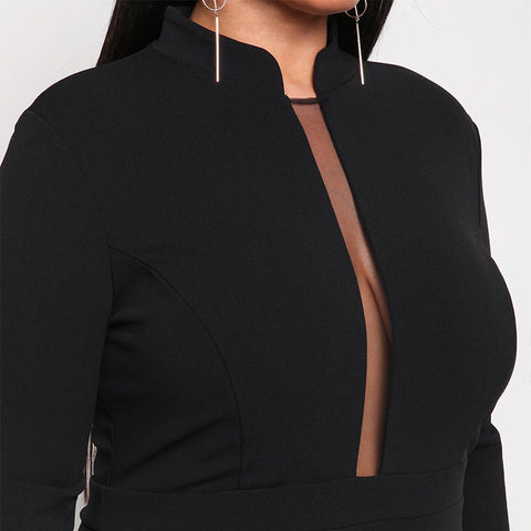 LAVELIQ plus size long sleeve mesh mini dress