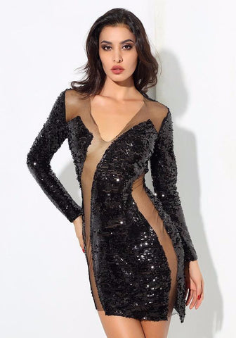 Sexy Black V-Neck Mesh Patchwork Sequined Long-Sleeved Dress LAVELIQ