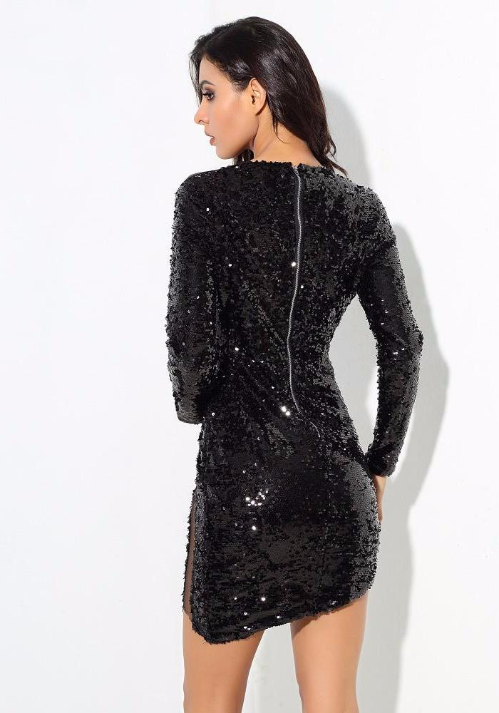 Sexy Black V-Neck Mesh Patchwork Sequined Long-Sleeved Dress LAVELIQ - Laveliqus