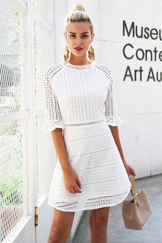Vintage hollow out lace dress women Elegant half sleeve midi white dress laveliq