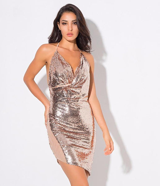 Sexy Rose Gold V-Neck Open Back Sequined Party Dress  Laveliq