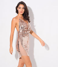 Sexy Rose Gold V-Neck Open Back Sequined Party Dress  Laveliq - Laveliqus